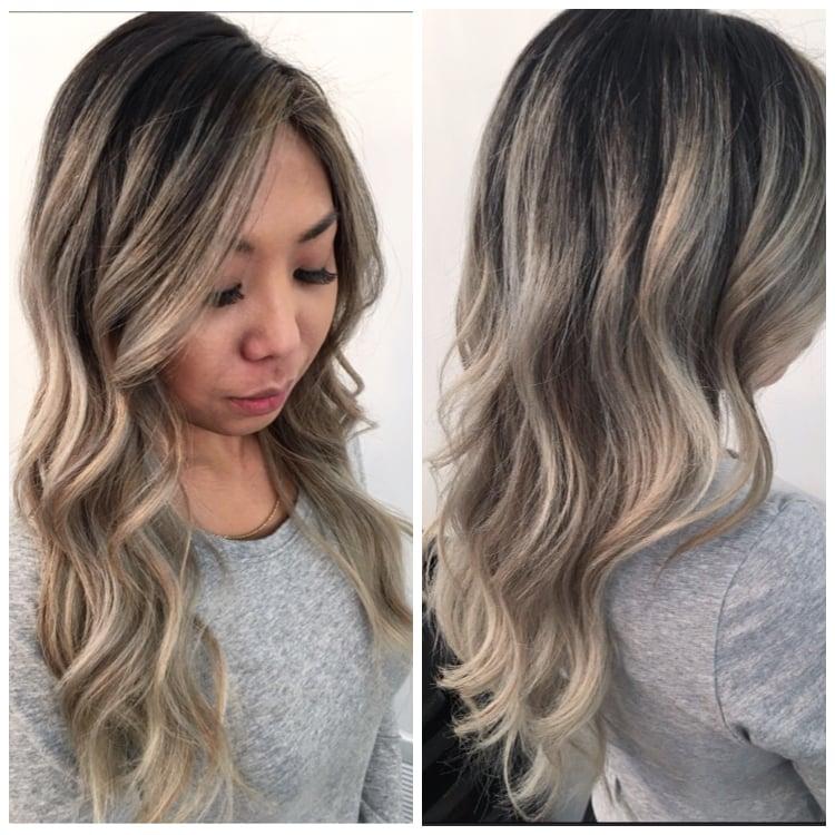 Cool Blonde Balayage On Asian Hair